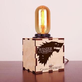 """Деревянный ночной светильник с лампой Эдисона """"Game of Thrones"""""""