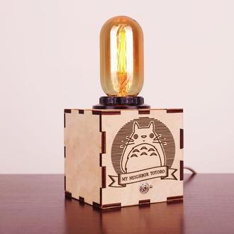 """Деревянный ночной светильник с лампой Эдисона """"Totoro"""""""