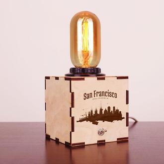 """Деревянный ночной светильник с лампой Эдисона """"San Francisco"""""""