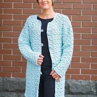 Красивое ажурное пальто цвета тиффани из натурального мериноса