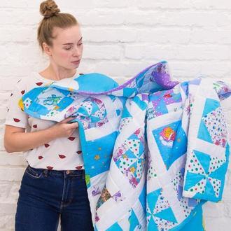 детское лоскутное одеяло -покрывало в стиле пэчворк-подарок-стеганое одеяло-рождественский подарок