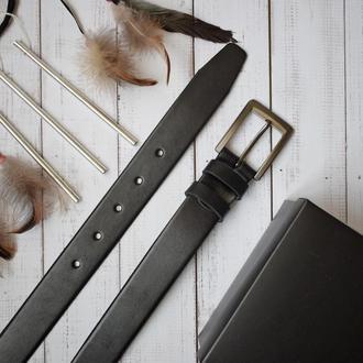 Classic35 классический черный кожаный мужской ремень кожанный пояс брючный