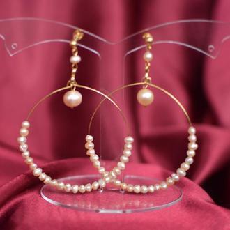 Серьги-кольца с жемчугом Рассвет