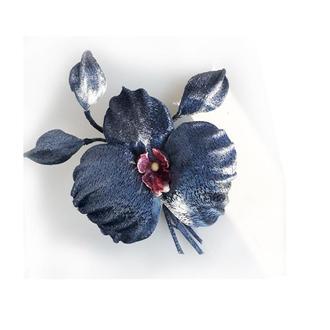 Черная орхидея, заколка/  брошь из бархата.