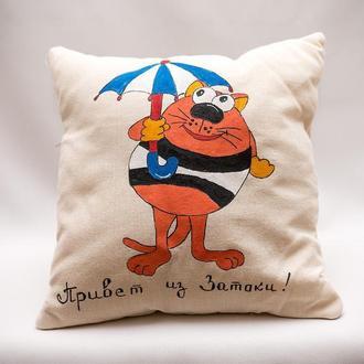 Интерьерная подушка Vikamade с вашими надписями.