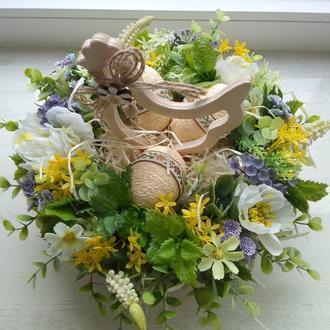 Весенняя пасхальная композиция на пасхальный стол, пасхальные сувениры, пасхальный декор