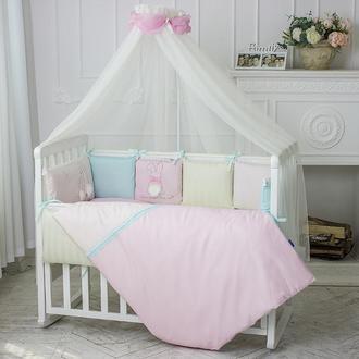 Комплект Зайчики розовый для детской кроватки