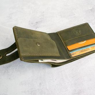 Чоловічий шкіряний гаманець (кольору хакі)