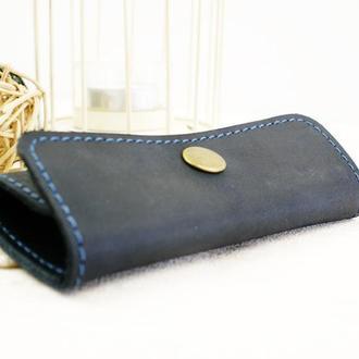 Шкіряна ключниця синього кольору (чоловіча)