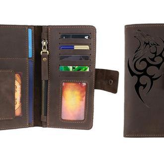 Именной кошелёк с гравировкой, кожаный кошелек, портмоне 9 цветов, бесплатная гравировка  Type 4