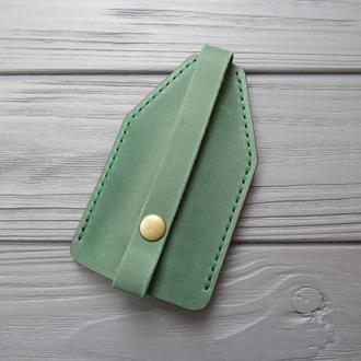Чехол для ключей из натуральной кожи_зеленая кожаная ключница