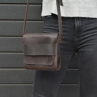 Кожаная женская сумочка через плечо. Шоколадная  кожаная сумка7
