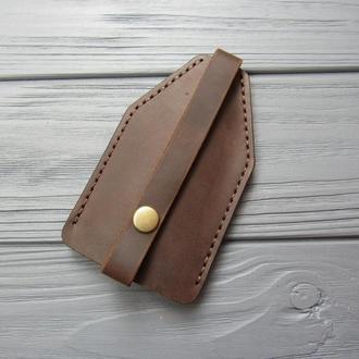 Чехол для ключей из натуральной кожи_кожаная карманная ключница_шоколад