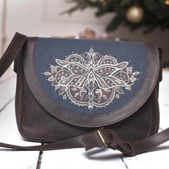 Кожаная сумочка женская через плечо с росписью под заказ
