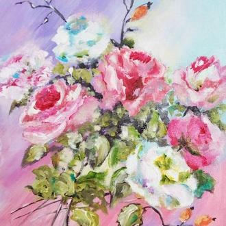"Картина-миниатюра импрессионизм ""Розы"" 20 х 15  см"