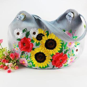 Джинсовая сумка с вышивкой Шоппер из джинсовой ткани Большая тоут сумка Украинский этно стиль