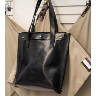 Кожаная сумка шопер, женская сумка из натуральной кожи, tote bag, подарок девушке