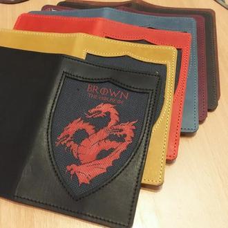 """Кожаная обложка для паспорта """"Game of Thrones"""" Игры Престолов с росписью"""