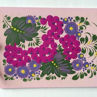 Деревянная открытка, ручная роспись Петриковка Калина