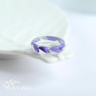 Синя каблучка з сухими рослинами • кольцо из епоксидной смолы с синими лепестками • перстень