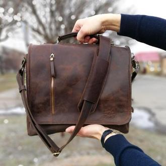 Мужская кожаная сумка мессенджер РОДЖЕР. Кожаный мужской портфель