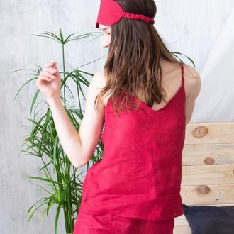 Пижама льняная топ + шорты на резинке + маска для сна