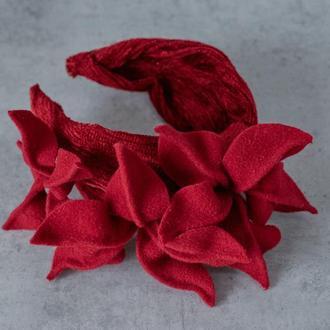 Ободок-тюрбан из бархата с цветами
