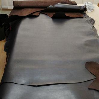 Натуральная кожа для работы краст 1.4-1.6 мм. Цвет - темно-коричневый