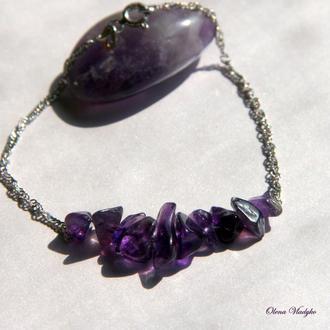 Серебряный браслет с аметистом, серебряный браслет с камнями, женский браслет цепочка