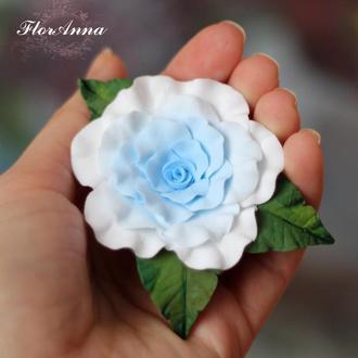 """Заколка для волос на выпускной """"Голубая роза"""""""