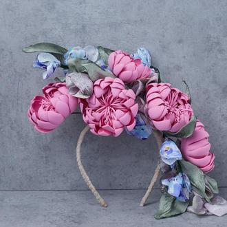 Ободок с цветами из ткани и фоамирана 155