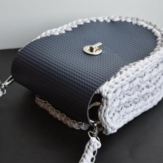 Женская сумка вязаная крючком с элементами эко-кожи