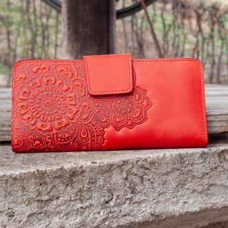 Красный кожаный кошелек женский длинный с орнаментом