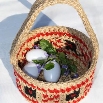 Корзинка пасхальная декоративная из джута круглая с украинским орнаментом