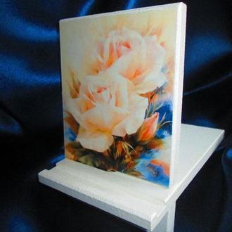 Подставка, держатель ′Розы′ для телефона,планшета,(декупаж)