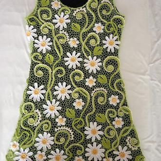 Платье вязаное крючком в технике ирландского кружева
