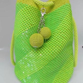 Сумочка из пайеток, сумка-мешок из пайеток, зелёная сумочка