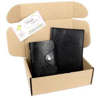 Подарочный набор №28: Обложка на паспорт + визитница (черный питон)