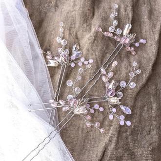 Свадебные шпильки набор в розовом цвете