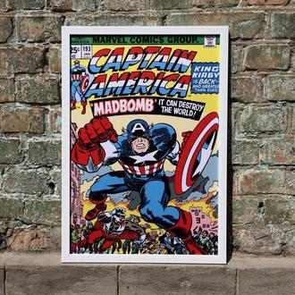 "Постер на ПВХ 3 мм. в рамке ""Капитан Америка"" (Retro Captain America)"