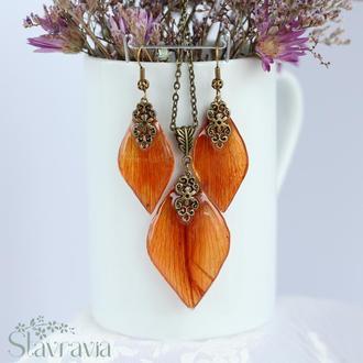 Набір сережки підвіска з пелюсток помаранчевої лілії • кулон серьги оранжевая лилия лепестки подарок