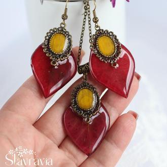 Бордовий Набір сережки підвіска з листочків дикого винограду з жовтою вставкою пелюсток соняшника