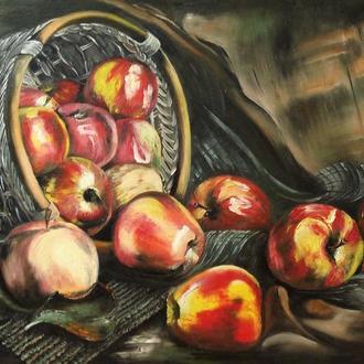 """Натюрморт маслом -  """"Яблочный спас""""/Яблоки/-45*65. Картина маслом. Современная живопись."""