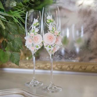 """Свадебные бокалы """" Нежность """" в бежевый , айвори и белых цветах"""