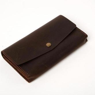 Женский мужской кожаный клатч кошелек (3 card) «Nice Brown» на кнопке с отделом для монет