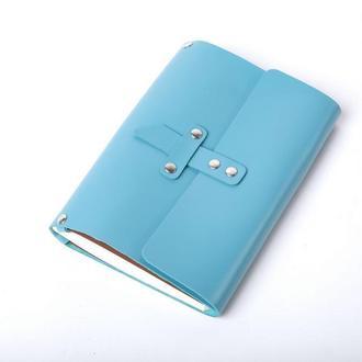 Кожаный блокнот А5 «Nota5 Azure» (голубой, с гравировкой, для рисования,  женский)