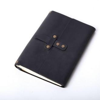 Кожаный блокнот А5 «Nota5 Black» (черный, с гравировкой, для рисования, мужской, женский)