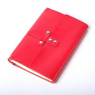Кожаный блокнот А5 «Nota5 Red» (красный, с гравировкой, для рисования, женский)