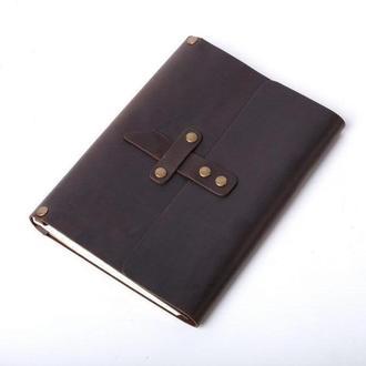 Кожаный блокнот А5 «Nota5 Brown» (коричневый, с гравировкой, для рисования, мужской, женский)