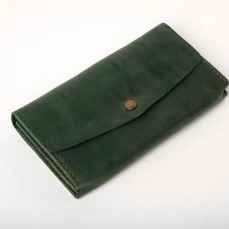 Женский мужской кожаный клатч кошелек (3 card) «Nice Green» на кнопке с отделом для монет